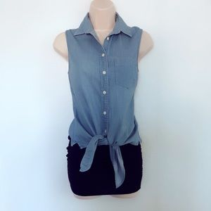 J. Crew chambray tie top